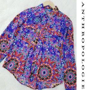 Anthro Kaleidoscope Mandala Button Down Blouse